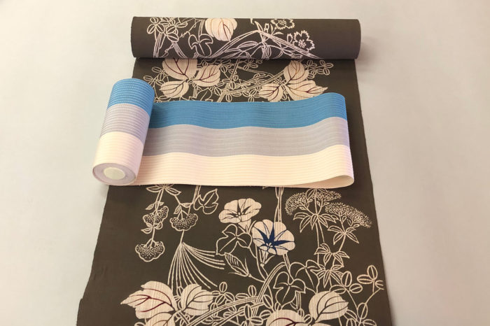 新江戸染め浴衣「詫色の草花」