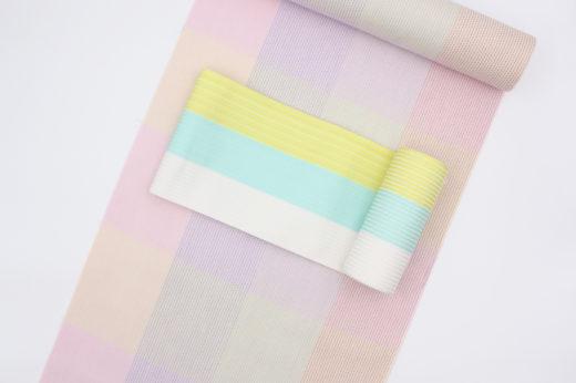 源氏物語の浴衣と博多織「麻絹」の四寸帯