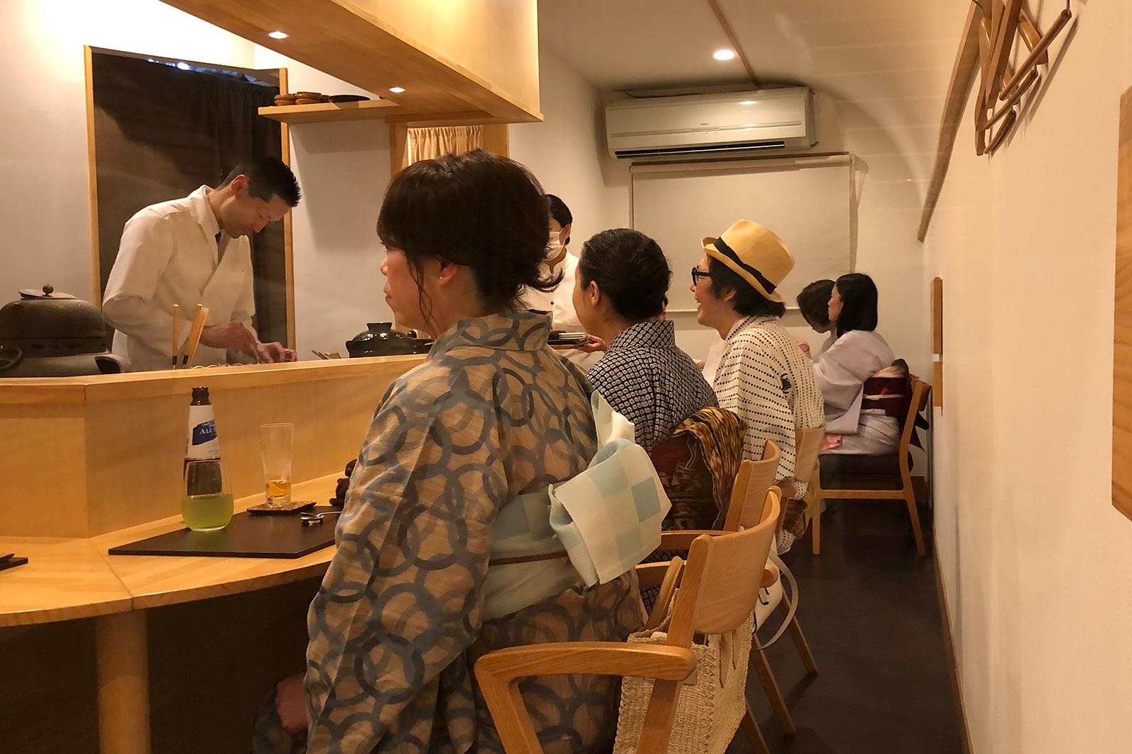 浴衣で日本料理ひら田を嗜む。