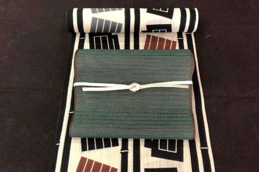 竹縞に源氏香の浴衣と博多織のなごや帯