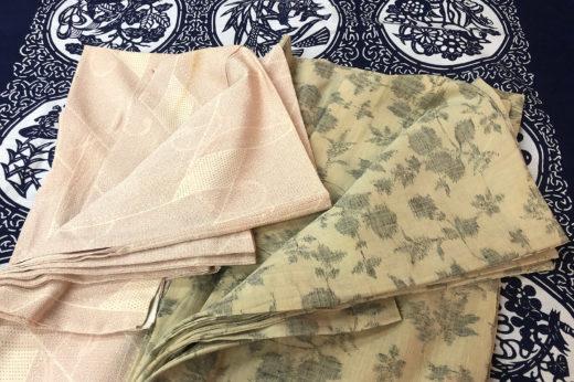 塩沢と紬の単衣の丸洗いとシミ抜き。