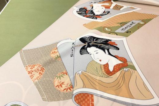唐津くんち曳子装束のひとつ、肉襦袢の裏地に美人画。