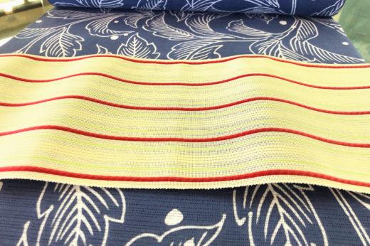 丸久商店の注染め浴衣に西村織物の博多織紗献上