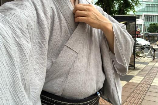 木綿と麻の交織、近江ちぢみを着ました。