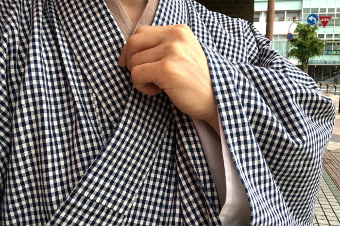 麻の半衿をかけた麻の半襦袢に松坂木綿。