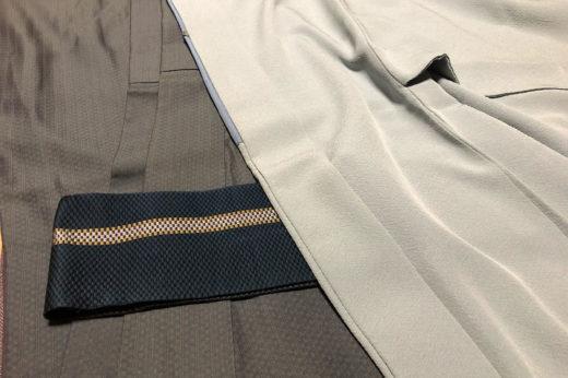 単衣の御召に紋付羽織